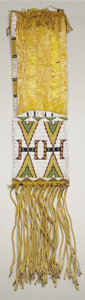 American Indian Art:Beadwork and Quillwork, AN ARAPAHO BEADED HIDE TOBACCO BAG. c. 1880...