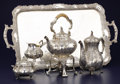 Silver Holloware, Continental:Holloware, AN ITALIAN SILVER FIVE-PIECE TEA SET WITH TRAY. Unknown maker,circa 1930. Unmarked . 13-1/4 inches high (hot water kettle o...(Total: 8 Items)