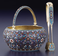 A RUSSIAN CLOISONNÉ ENAMEL AND SILVER GILT SUGAR BOWL AND TONGS Gustav Gustavovic