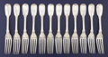 Silver Flatware, American:Coin Silver, A SET OF TWELVE AMERICAN COIN SILVER DINNER FORKS. Robert &William Wilson, Philadelphia, Pennsylvania, circa 1850. Marks: ...(Total: 12 Items)