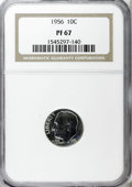 Proof Roosevelt Dimes: , 1956 10C PR67 NGC. NGC Census: (220/248). PCGS Population(202/120). Mintage: 669,384. Numismedia Wsl. Price for NGC/PCGSc...