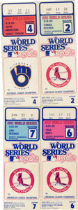 Baseball Collectibles:Tickets, 1982 World Series Full Tickets Lot of 4. Though the two teams hadnever met before the 1982 Fall Classic, the Milwaukee Bre...