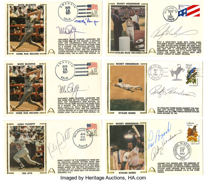 Baseball Stars Signed First Day Covers Lot of 6  A slick