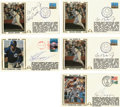 Autographs:Others, Baseball Stars Signed First Day Covers Lot of 5. Group of fivesigned first day covers from three big name baseball stars. ...