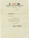 Autographs:Letters, 1941 Philip K. Wrigley Signed Typed Letter. Son of the US chewinggum industrialist William Wrigley, Jr., Philip K. Wrigley...