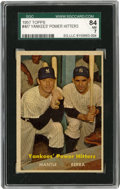 Baseball Cards:Singles (1950-1959), 1957 Topps Yankees' Power Hitters (Mantle/Berra) #407 SGC NM 84.1950s fans of the Bronx Bombers were spoiled to have these...