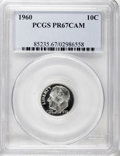 Proof Roosevelt Dimes: , 1960 10C PR67 Cameo PCGS. PCGS Population (198/293). NGC Census:(140/278). Numismedia Wsl. Price for NGC/PCGS coin in PR6...