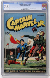 Captain Marvel Jr. #13 (Fawcett, 1943) CGC VF- 7.5 Cream to off-white pages