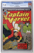 Golden Age (1938-1955):Superhero, Captain Marvel Adventures #13 (Fawcett, 1942) CGC FN/VF 7.0 Off-white pages....