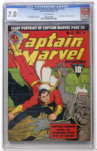 Captain Marvel Adventures #13 (Fawcett, 1942) CGC FN/VF 7.0 Off-white pages