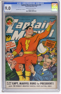 Captain Marvel Adventures #41 (Fawcett, 1944) CGC VF/NM 9.0 Cream to off-white pages
