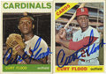 Autographs:Sports Cards, Curt Flood Single Signed Sports Cards Lot of 2. Presented are two Topps cards signed by Curt Flood. Known for changing the ...