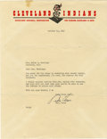 Autographs:Letters, 1948 Bill Veeck Signed Typed Letter. Bill Veeck grew up in theworld of baseball business -- his father was the president ...