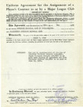 Autographs:Others, 1951 Player Contract Signed by Clark Griffith. Clark Griffith madehis debut in professional baseball in 1891, dominating t...
