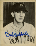 Autographs:Letters, Carl Hubbell Signed 1939 Play Ball Card and First Day Cover Lot of2. Inducted into the Hall of Fame in 1947, Carl Hubbell ...