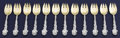 Silver Flatware, American:Gorham, A SET OF TWELVE AMERICAN SILVER AND SILVER GILT ICE CREAM FORKS.Gorham Manufacturing Co., Providence, Rhode Island, circa 1...(Total: 12 Items)