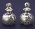 Silver Smalls:Other , A PAIR OF AMERICAN SILVER OVERLAY GLASS PERFUME BOTTLES.Alvin-Beiderhase Co., Sag Harbor, New York, circa 1900. Marks:(sai... (Total: 2 Items)