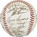 Autographs:Baseballs, 1990 Oakland Athletics Team Signed Baseball. The American LeaguesChamps of 1990 appear on the OAL (Brown) baseball in ink....