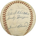 Autographs:Baseballs, 1958 Cincinnati Reds Team Signed Baseball. Twenty-eight members of the 1958 Cincinnati Redlegs organization added signature...