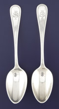 Silver Flatware, American:John Polhemus, A PAIR OF AMERICAN SILVER TEA SPOONS. John Polhamus, New York, New York, circa 1845. Marks: J (star) S, TIFFANY & CO.,... (Total: 2 Items)