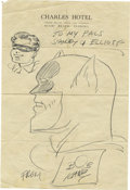 Entertainment Collectibles:Comic Character, Bob Kane Batman and Robin Sketch, Inscription, and Signature. Onepage, 8vo, penned on letterhead from the Charles Hotel in ...