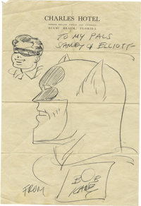 Bob Kane Batman and Robin Sketch, Inscription, and Signature. One page, 8vo, penned on letterhead from the Charles Ho