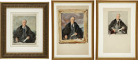 """Madame Elizabeth Shoumatoff: Three Watercolor Proof Studies for her Legendary """"Unfinished Portrait"""" of FDR"""