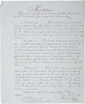 Autographs:Statesmen, Historic Thomas J. Rusk Manuscript Letter and Document Signed ...(Total: 2 Items)