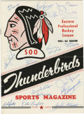 Hockey Collectibles:Programs, 1961-62 Sault Thunderbirds ECHL Signed Program (Cheevers). The Sault Thunderbirds was a professional hockey team in the Eas...