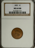 Indian Cents: , 1892 1C MS64 Red and Brown NGC. NGC Census: (148/60). PCGSPopulation (122/16). Mintage: 37,649,832. Numismedia Wsl. Price ...