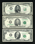 Error Notes:Error Group Lots, A Trio of Federal Reserve Note Errors. Very Fine or Better....(Total: 3 notes)