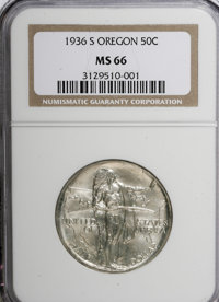 1936-S 50C Oregon MS66 NGC. NGC Census: (379/120). PCGS Population (379/120). Mintage: 5,006. Numismedia Wsl. Price for...