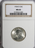 Washington Quarters, 1934-D 25C Medium Motto MS65 NGC....
