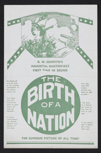 """The Birth of a Nation (David W. Griffith Corp., R-1930). Herald (4.75"""" X 6.25""""). Historical Drama. Starring Li..."""