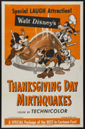 "Movie Posters:Animated, Thanksgiving Day Mirthquakes (RKO, 1953). One Sheet (27"" X 41"").Animated. Starring various Walt Disney characters in this c..."