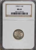 Barber Dimes: , 1902-S 10C MS62 NGC. This sharply struck piece is an attractive coin with peripheral gold and iridescent toning over ivory ...