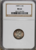 Barber Dimes: , 1909-S 10C MS62 NGC. Deep red-brown and cobalt-blue toning decorates the peripheries, while the silver-gray centers remain ...