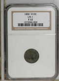 Early Half Dimes: , 1800 H10C Fine 12 NGC. V-1, LM-1, R.3. Aquamarine, lilac, and peachtints envelop this nicely detailed and lightly abraded ...