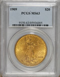 Saint-Gaudens Double Eagles: , 1909 $20 MS63 PCGS. This is a scarce date and a seldom-seen exampleof the Normal Date variety for the year. Both sides are...