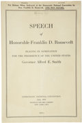 """Political:Small Paper (1896-present), Franklin D. Roosevelt: Two Imprinted Copies of FDR's 1924 """"Happy Warrior"""" Speech.... (Total: 2 Items)"""