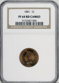 Proof Indian Cents, 1881 1C PR64 Red Cameo NGC....