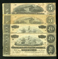 Confederate Notes:1864 Issues, Two 1864 $20s and Two 1864 $5s.. ... (Total: 4 notes)