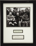 Autographs:U.S. Presidents, Franklin D. Roosevelt and Winston S. Churchill: Cut Signatures Matted with Yalta Conference Photograph. ...