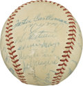 Autographs:Baseballs, 1954 New York Giants Team Signed Baseball. The 1954 Giants squadincluded numerous Hall of Famers to help propel them to a W...