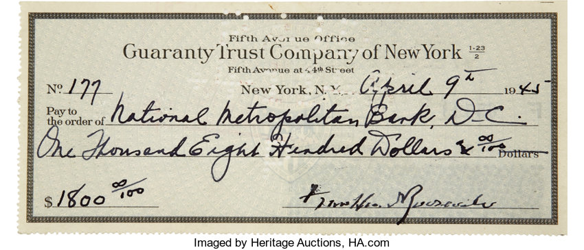 franklin d roosevelt archive of forty seven checks signed and