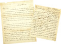Military & Patriotic:Revolutionary War, Two Revolutionary War Letters Written after the Battle of Bunker Hill:. ... (Total: 2 Items)