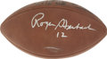 Football Collectibles:Balls, Roger Staubach Single Signed Football. The backfield general most responsible for the mystique of the America's Team Cowboy...