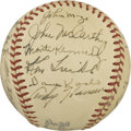 Autographs:Baseballs, 1948 New York Giants Team Signed Baseball. Twenty-two members fromthe 1948 New York Giants grace this vintage ONL (Frick) ...