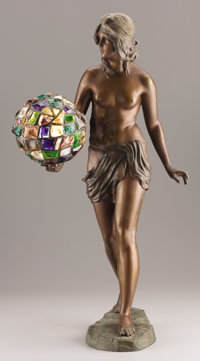 AN ART NOUVEAU SPELTER AND JEWEL GLASS FIGURAL LAMP Early 20th century Signed on base: P. Aimele
