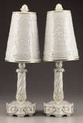 Ceramics & Porcelain, Continental:Modern  (1900 1949)  , A PAIR OF CONTINENTAL LITHOPANE PORCELAIN LAMPS. 20th Century. Marks: shade and base stamped with a crowned shield framed by... (Total: 2 Items)